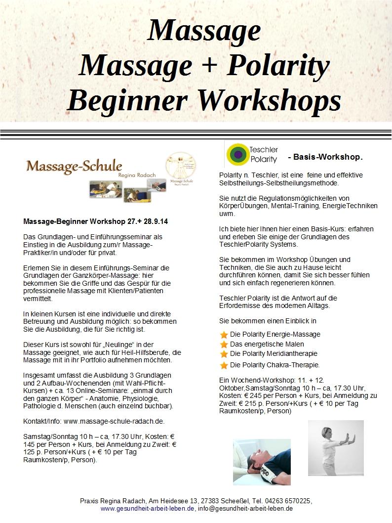 Anti-Stress, Massage, Polarity-Basics - Kurse + Info`s